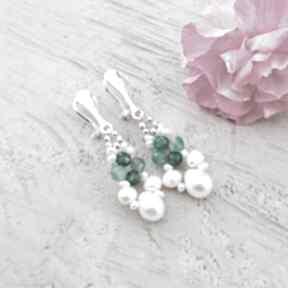 Perłowa zieleń - klipsy jewelsbykt srebrne klipsy, wiszące perły