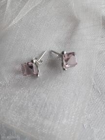 Srebrne kolczyki z kostkami swarovskiego różowe molicka kolczyki