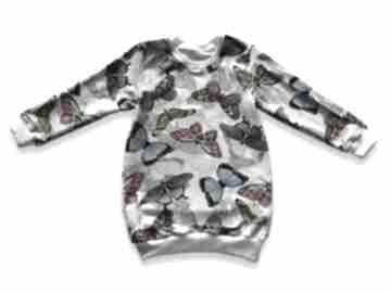 Motyle kolorowa tunika z dresówki, długa bluza dla dziewczynki