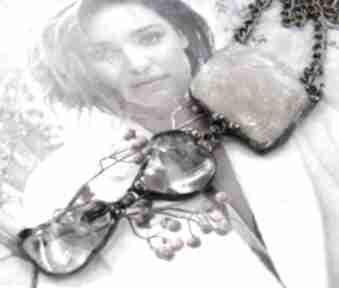 Secesyjny wisior z łańcuszkiem: kwarcu różowego naszyjniki