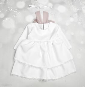 Sukienka z falbanami i szyfonowa kokarda do chrztu noeli chrztu