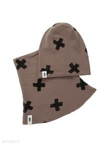 Zestaw czapka & komin brązowy cudi kids i-komin, zestaw, zimowa czapka