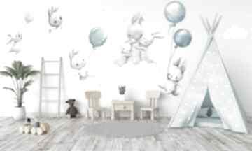 pokoik dziecka naklejki na ścianę KRÓLICZKI BALONY niebieskie nr