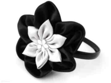 Czarno szara opaska opaski ozdoba ozdoby prezent ręcznie robiona
