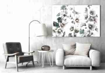 Obraz do salonu drukowany na płótnie z kwiatami różowe malwy