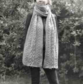 Szary zimowy szal szaliki juliannad szal, ciepły wzór warkoczy