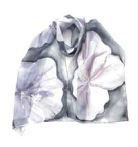 Jedwabny malowany szal - kwiaty w fioletach szaliki jedwab