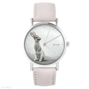 Zegarek - zając pudrowy róż, skórzany zegarki liliarts zegarek