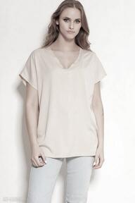 Wiskozowy t-shirt w serek - blu151 beż bluzki lanti urban