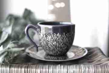 Filiżanka ceramiczna ręcznie malowany złoty kobalt ceramika