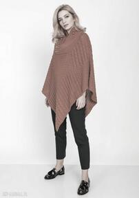Dzianinowe poncho, swe207 karmel mkm swetry dzianinowe, wzory
