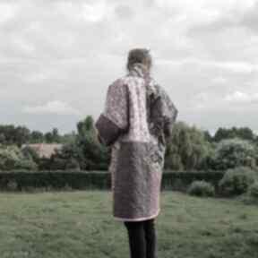 Płaszcz patchworkowy w stylu boho, długi z kieszeniami, kimonowy