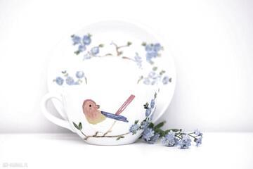 Filiżanka malowana rajski ptak ceramika pracownia szafran