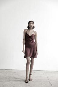Satynowa sukienka grace mini bordowa s, m, l sukienki lavender