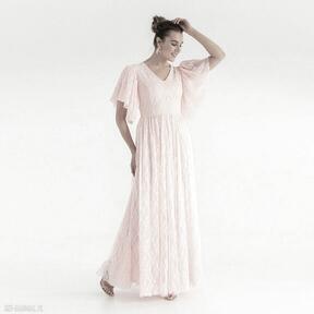 Sukienka 14 ss 2021 sukienki pawel kuzik koronkowa, pudrowa