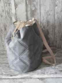 Pikowany plecak z alcantary happyart plecak, plażowy, wakacyjny