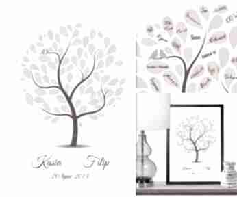 Kolorower drzewo gości weselnych - plakat artystyczny albumy