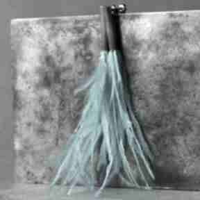 Srebrne kolczyki wkrętki pióra emu turkusowe shambala z-piórkami