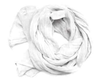 Lniany szal chusta w kolorze popielatym gołębim, modny elegancki