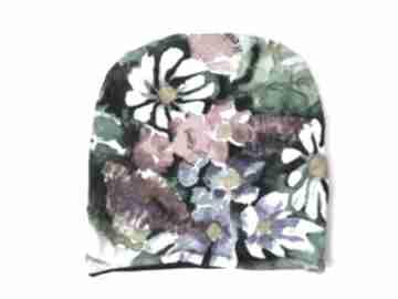 Czapka kwiaty malowane czapki katarzyna staryk kolorowa, kwiaty