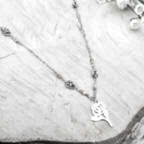 Zieleń z różą naszyjniki jewelsbyat biżuteria stal, ze stali,