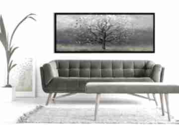 Obraz drukowany na płótnie - abstrakcyjne drzewo z ptakami