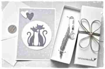 Zakochane koty - zakładka i kartka zakładki wrzosowisko zakładka