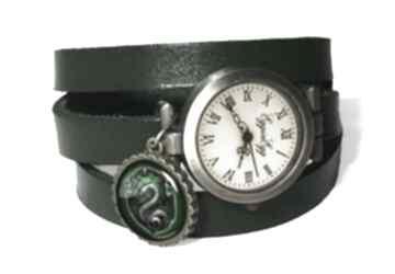 Slytherin zegarek bransoletka skórzanym pasku wąż harry potter