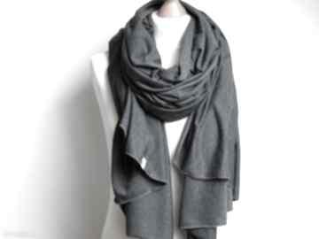 Szal, szalik bawełniany grafitowy, pomysł na prezent szaliki