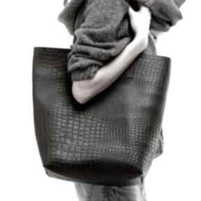 Skórzana torba damska shopper snake na ramię cadoaccessories