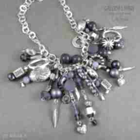 Naszyjnik xxl kaskada kobaltowo-srebrna niezwykle bogaty