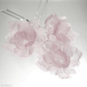 W kolorze różu 3 ozdoby do włosów selenit kokówka, jedwab, ślub,
