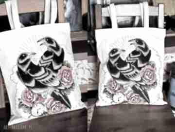 Ręcznie malowana torba z krukami kram iki eko, torba, malowana