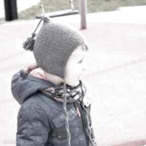 Czapka-bonetka z pędzelkiem merynos dziecięca czapki molito