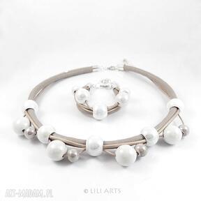 naszyjniki Komplet - Beżowo - biały - naszyjnik, bransoletka,