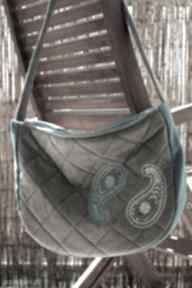 Pikowana torba z haftem na ramię happyart torba, pikowana