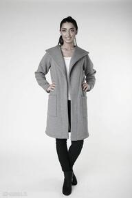 Płaszcz z ciepłym kołnierzem szarys-m 36 38 płaszcze ekoszale