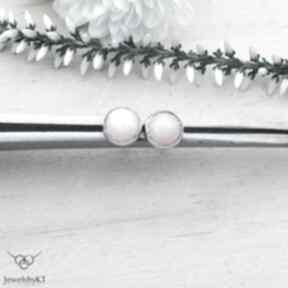 Kropki z opalem różowym - kolczyki jewelsbykt srebrne kolczyki