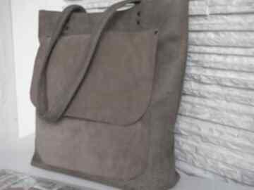 Skórzana torebka na ramię juti bags camelowa torebka, shopperka