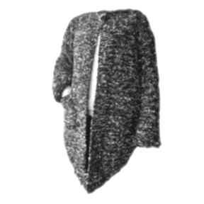 Asymetryczny sweter -żakiet handmade, robiony na drutach 6