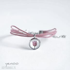 Bransoletka - tulipan sznureczki, różowa yenoo bransoletka
