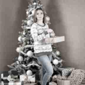 Libou Handmade: Świąteczna bluza damska Chrisms szara boże