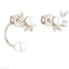 Złote asymetryczne kolczyki gałązki z perłami swarovski® crystal