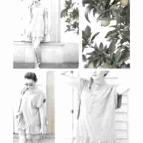 Oversize letnia szara sukienka z falbanami i kieszonką xs