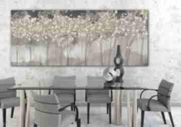 Obraz drukowany na płótnie z drzewami w ciepłych brązach150x60cm