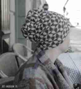 Czapka damska szara dzianina wzory handmade boho-box w1