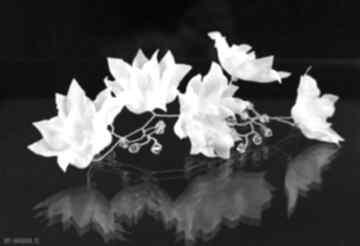 Zestaw jedwabnych kwiatów ozdoby do włosów selenit ślub