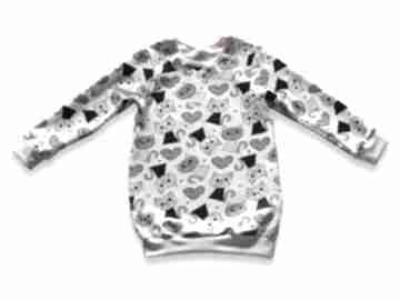 Koty długa bluza dla dziewczynki, prosta tunika z dresówki