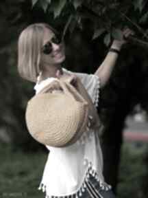 Okrągła torebka swetromania ochra, ręczna robota, bawełniana