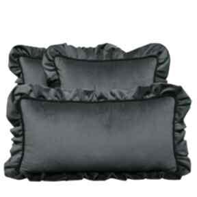 Poduszki dekoracyjne komplet 3 welur szaro-morski od majunto